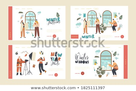 Wintertime City and People Set Vector Illustration Stock photo © robuart