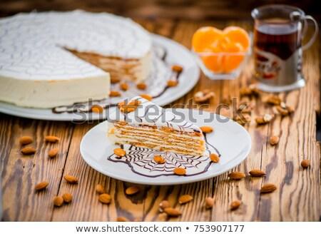 torta · vanília · krém · francia · díszített · szívek - stock fotó © Lana_M