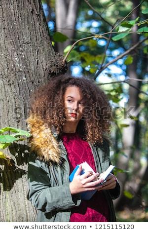 cabelos · cacheados · menina · adolescente · leitura · livro · outono · parque - foto stock © boggy