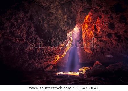 Cueva forestales cielo hierba árboles montanas Foto stock © colematt
