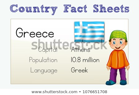 Greece Country Fact Sheet with Character Stock photo © colematt