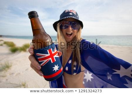 mutlu · kadın · Avustralya · gün · avustralya · bayrak - stok fotoğraf © lovleah