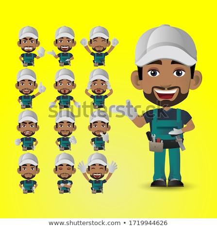 african american construction worker mascot stock photo © patrimonio