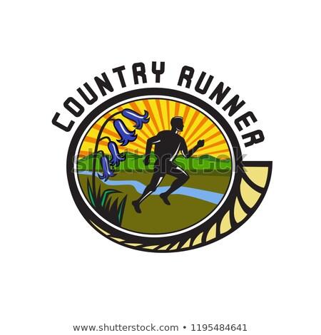 Cross Country Runner Text Oval Retro Stock photo © patrimonio