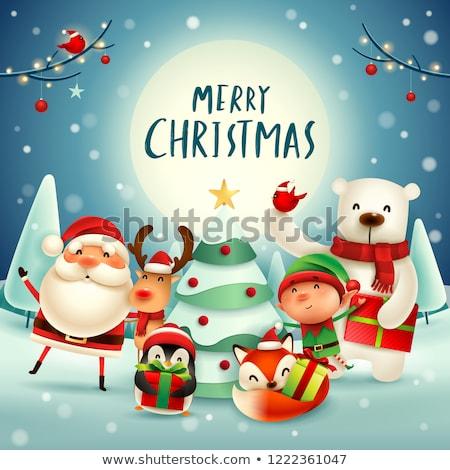 Joyeux Noël cartes elf cerfs Photo stock © robuart