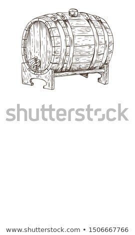 Ale or Beer Wood Firkin Monochrome Sketch Poster Stock photo © robuart