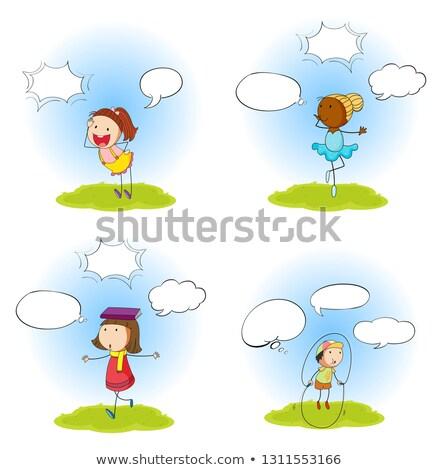 Szett gyerek szöveglufi illusztráció fiú kommunikáció Stock fotó © colematt