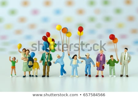 Familia globos fiesta ilustración sonrisa nino Foto stock © colematt