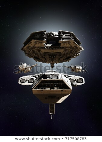 четыре космический корабль Flying пространстве иллюстрация пейзаж Сток-фото © colematt
