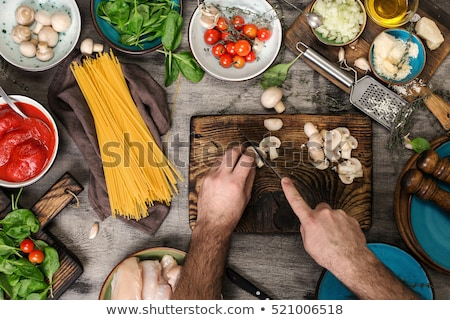 ingredients for cooking pasta with spinach stock photo © furmanphoto