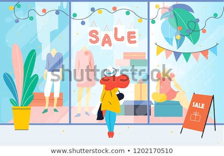 Woman Shopping Looking at Mannequins Store Vector Stock photo © robuart