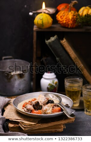 Kip deken pompoen vintage wijn keuken Stockfoto © zoryanchik