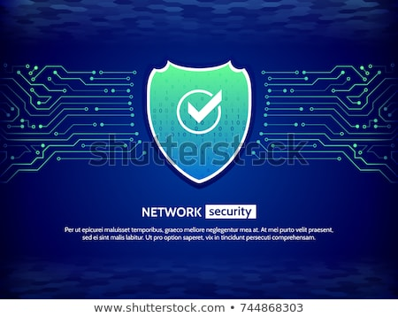 Cyber Security Concept, Shield on Circuit Board Digital Lines. Vector illustration isolated on white Stock photo © kyryloff