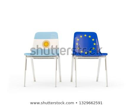 Deux chaises drapeaux Argentine européenne Union Photo stock © MikhailMishchenko