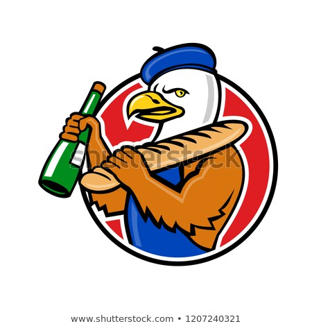Bald Eagle Baguette Wine Circle Mascot Stock photo © patrimonio