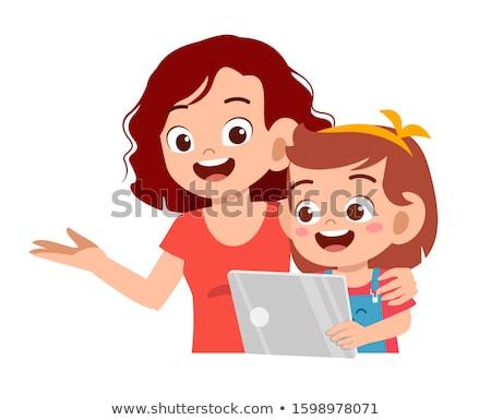 Anya lánygyermek laptop rajzolt emberek betűk illusztráció Stock fotó © Decorwithme