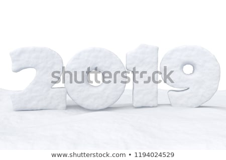new year 2019 number or date on snow surface stock photo © dolgachov