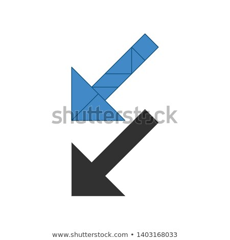 Arrow left down Tangram. Traditional Chinese dissection puzzle, seven tiling pieces - geometric shap Stock photo © kyryloff