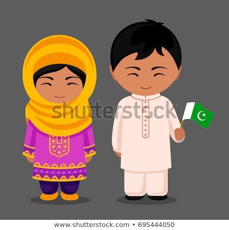 Sevimli kız bayrak Pakistan örnek çocuk Stok fotoğraf © colematt