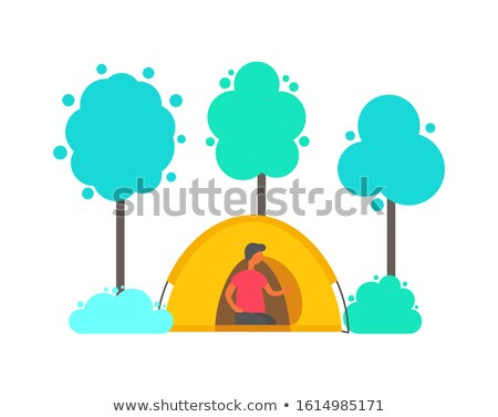 Man in Tent in Forest. Trees and Bushes Isolated Stock photo © robuart