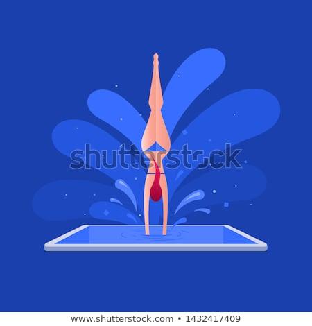 Bikini girl is jumping in the smart phone pool. Stock photo © sgursozlu
