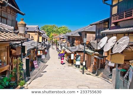 Hagyományos japán házak kerület Kiotó Japán Stock fotó © daboost