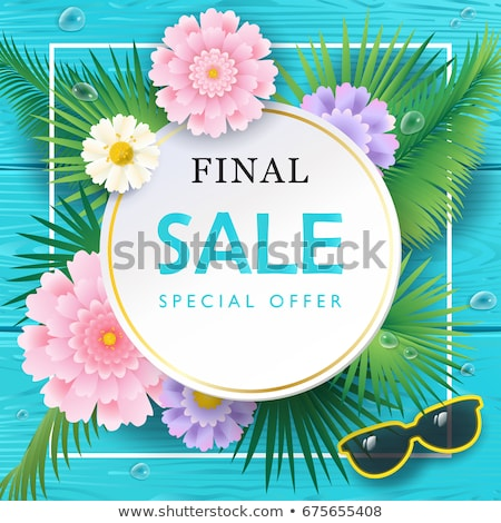summer sale design with exotic palm leaves in sunglasses on tropical island background vector speci stock photo © articular
