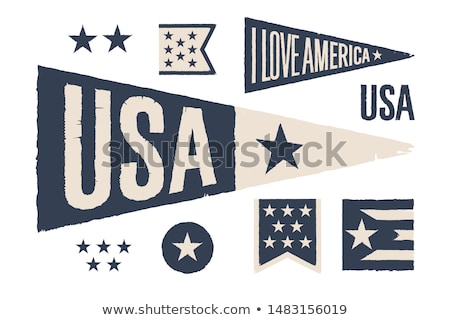 set symbols usa vintage retro graphic flag pennant stock photo © foxysgraphic