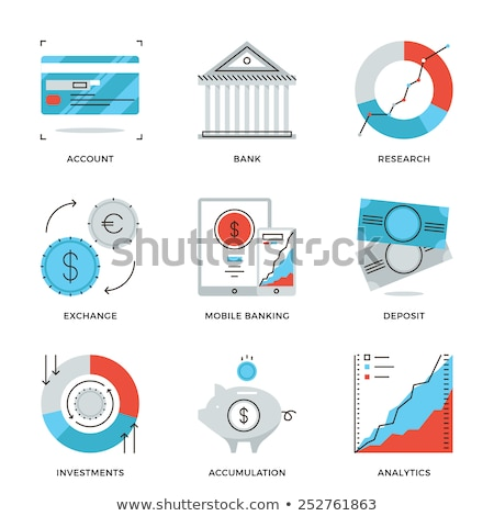 Stock photo: Online Transactions Vector Thin Line Icons Set
