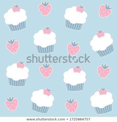 rajz · minitorta · illusztráció · mosolyog · étel · torta - stock fotó © bennerdesign
