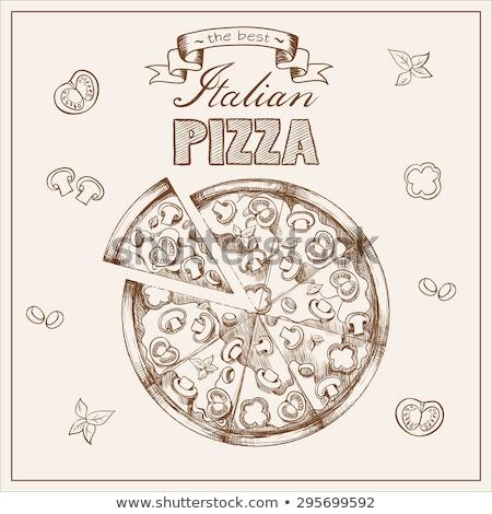 Farbe Vegetarier italienisch Scheibe Pizza Hand gezeichnet Stock foto © pikepicture