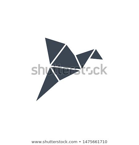 Foto d'archivio: Origami · uccello · vettore · icona · isolato · bianco