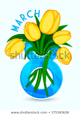 Greeting for Ladies, 8 March, Yellow Tulips Vector Stock photo © robuart