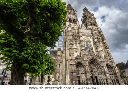 Full facade of cathedral of saint-Gatien in Tours Stock photo © tilo
