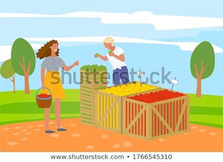 Woman at Market Buying Fresh Ripe Apples Vector Stock photo © robuart