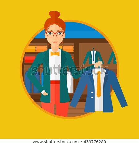 Seller Holding Hanger with Dress, Sale Vector Stock photo © robuart