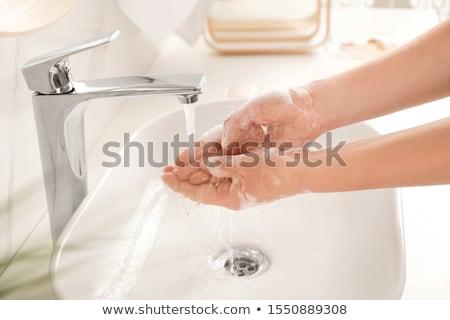Jonge vrouw badkamer tijdgenoot appartement mooie kamer Stockfoto © boggy