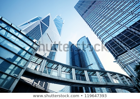 Toned image of modern office buildings in central Hong Kong Stock photo © galitskaya