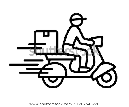 Motorfiets vervoer bestuurder icon vector schets Stockfoto © pikepicture