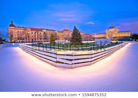 Tomislav square in Zagreb ice skate park advent evening view Stock photo © xbrchx