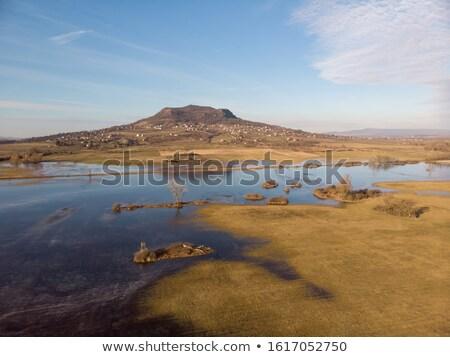 Antena zimą krajobraz węgierski wulkan Hill Zdjęcia stock © digoarpi
