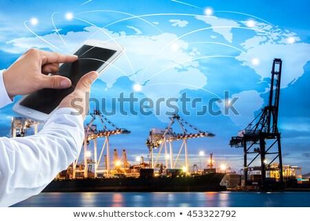 コンテナ船 インポート エクスポート ビジネス クレーン 貿易 ストックフォト © galitskaya