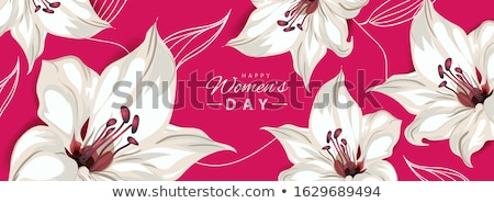 Felice festa della donna orizzontale banner giglio fiori Foto d'archivio © ikopylov