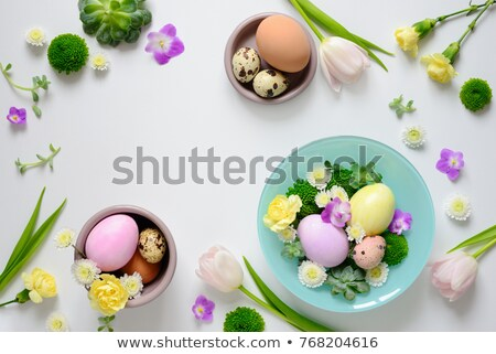 Easter table setting in green color Stock photo © furmanphoto