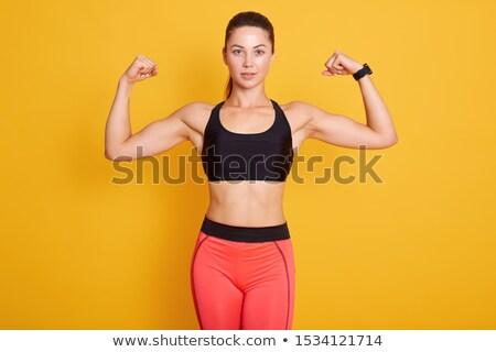 Lächelnd jungen Brünette Frau tragen Stock foto © deandrobot