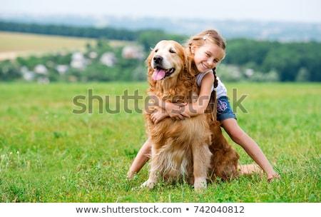 少女 犬 子 を実行して 背景 フィールド ストックフォト © digoarpi