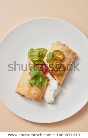 Házi készítésű mexikói taco zsemle hagyományos tömés Stock fotó © artjazz