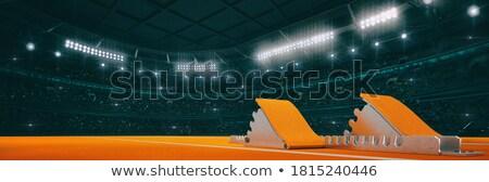 Starting blocks in athletic running track 3D Stock photo © djmilic