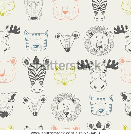 Set of cute wild animal and nature Stock photo © bluering