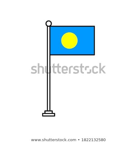 Palau bandeira branco sol fundo onda Foto stock © butenkow